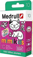 """Пластир медичний Medrull дитячий Тату """"Mi Mi Kids"""", з полiмерного матерiалу, розмiр 25 мм х 57 мм, №10"""