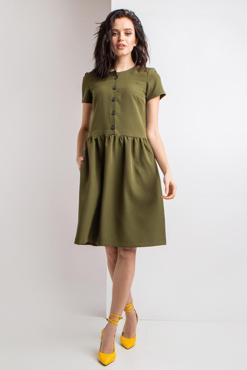Короткое платье INNA в винтажном стиле цвета хаки