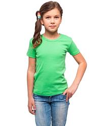 Футболка детская для девочек зеленая однотонная летняя без рисунка трикотажная хлопок Украина
