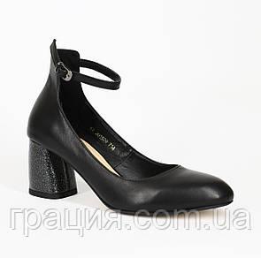 Женские элегантные туфли кожаные натуральные на каблуке с ремешком