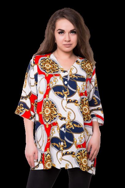 Блуза великого розміру 0406S-6 вільного крою червона
