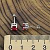 Серебряные серьги гвоздики ТС520146 размер 5х5 мм вставка малиновые фианиты вес 1.35 г, фото 6