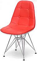 Стул Alex Chrom ML экокожа красный 05 на хромированных ножках, дизайн Charles & Ray Eames