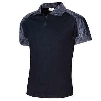 Тактическая футболка с коротким рукавом ESDY A416 Black Typhon XXL мужская на змейке с карманами камуфляжная