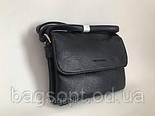 Маленькая черная эко-кожаная сумочка клатч через плечо Pretty Woman Одесса 7 км