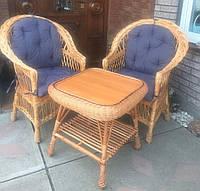 Мебель из лозы с накидками | комплект плетеной мебели со столом | мебель плетеная с подушками, фото 1