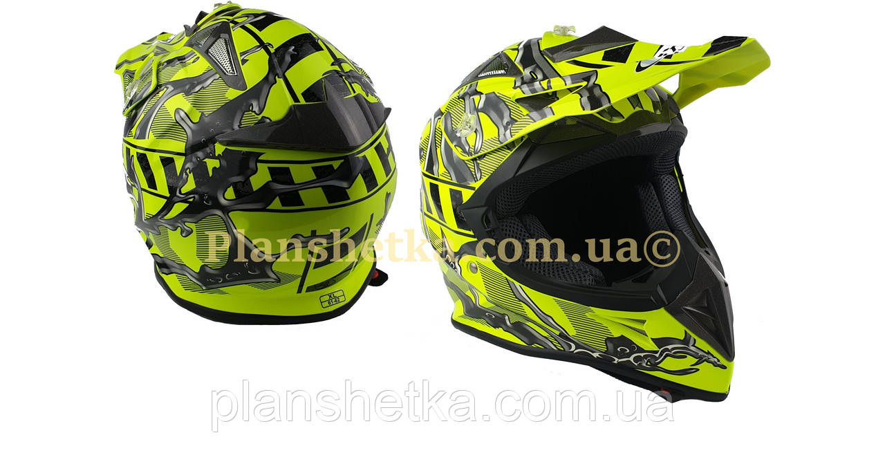 Шолом для мотоцикла Hel-Met 116 кросовий Neon Yellow XS/S