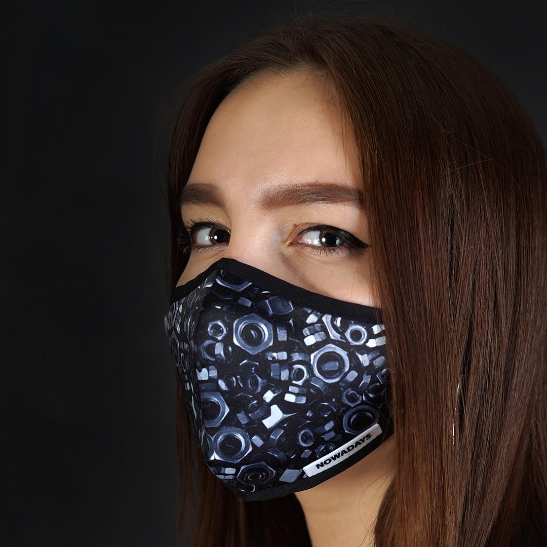 Хлопчатобумажная защитная маска для лица (двухслойная + сеточка под вкладыш) (гайки)