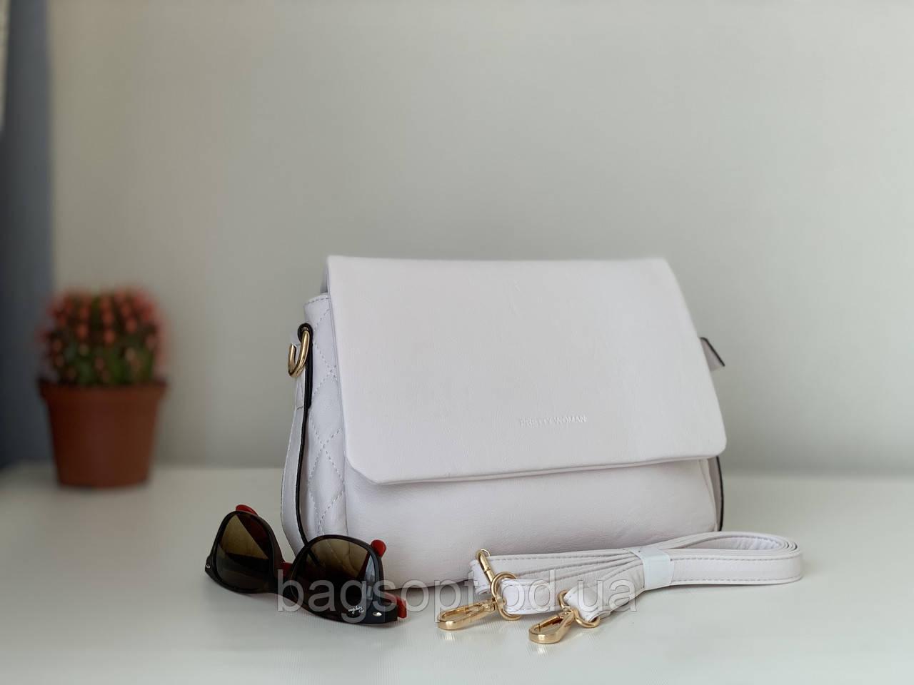 Белая женская сумка на плечо небольшая Pretty Woman