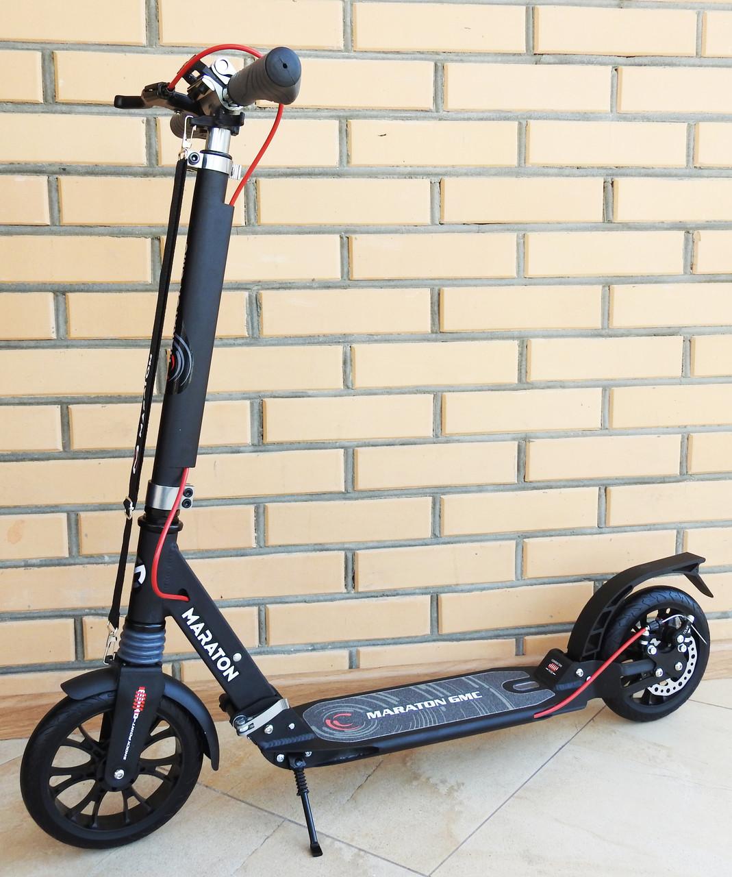 Самокат двухколесный складной Maraton GMC ручной Дисковый тормоз Алюминиевая рама Большие колеса Амортизаторы