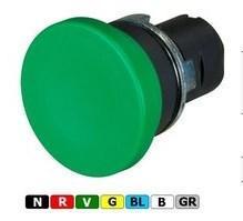 New Elfin, Кнопка-грибок без фіксації, з підсвічуванням, d=40, цоколь - круглий, металевий, зелена, ne020PTAFLVW