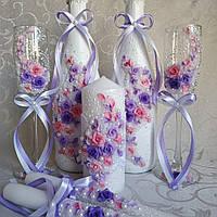 Свадебные бокалы сиренево розовые Новинка