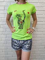 """Молодежная футболка для девушек """"Кошка"""" размер42-44, цвет уточнять при заказе"""