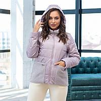 Серая демисезонная женская короткая куртка с карманами и капюшоном  размеры 42-56