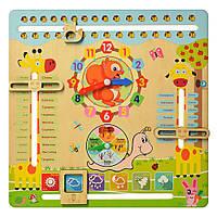 Деревянная игрушка для малышейMD 2063 Развивающие часы и календарь природы