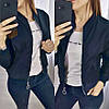 """Легкая короткая женская куртка-бомпер """"Ring"""" на молнии черный, фото 4"""