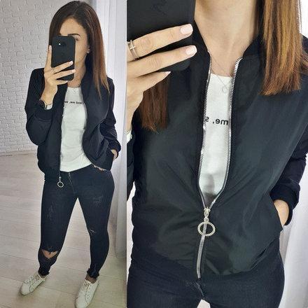 """Легкая короткая женская куртка-бомпер """"Ring"""" на молнии черный"""