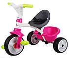 Детский трехколесный велосипед коляска 3в1 Baby Driver Smoby 741201 с ручкой, корзиной для детей, фото 5