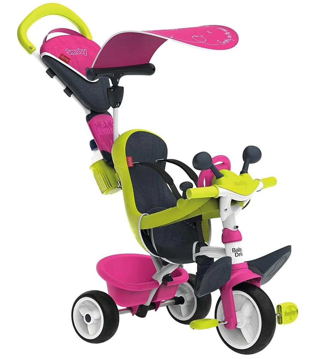 Детский трехколесный велосипед коляска 3в1 Baby Driver Smoby 741201 с ручкой, корзиной для детей