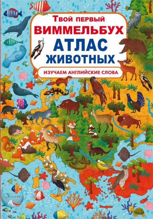"""Книга-картонка """"Твой первый виммельбух. Атлас животных (рос.)"""