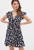 Красивое модное летнее женское платье 2020 цвет: синий-цветы, размер: S, M, L, XL