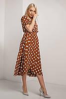 Красивое модное летнее женское платье 2020 цвет: коричневый, размер: 2XL, 3XL, 4XL, L, M, S, XL
