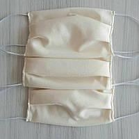 Хлопковая тканевая марлевая многоразовая защитная повязка маска на резинке