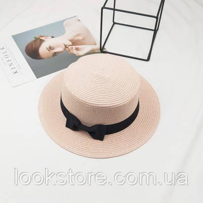 Женская летняя шляпа канотье с бантиком розовая (пудровая)