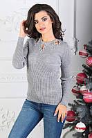 Женский стильный свитер с вырезами на плечах, фото 1