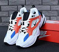 Женские кожаные кроссовки Nike M2K Tekno в белом-красном цвете