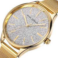 Стильные часы наручные мужские водонепроницаемые Mini Focus MF0044L.01 Gold-White Shine