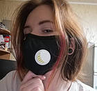 Защитная маска для лица многоразовая с клапаном и фильтром+2 фильтра в подарок, фото 9