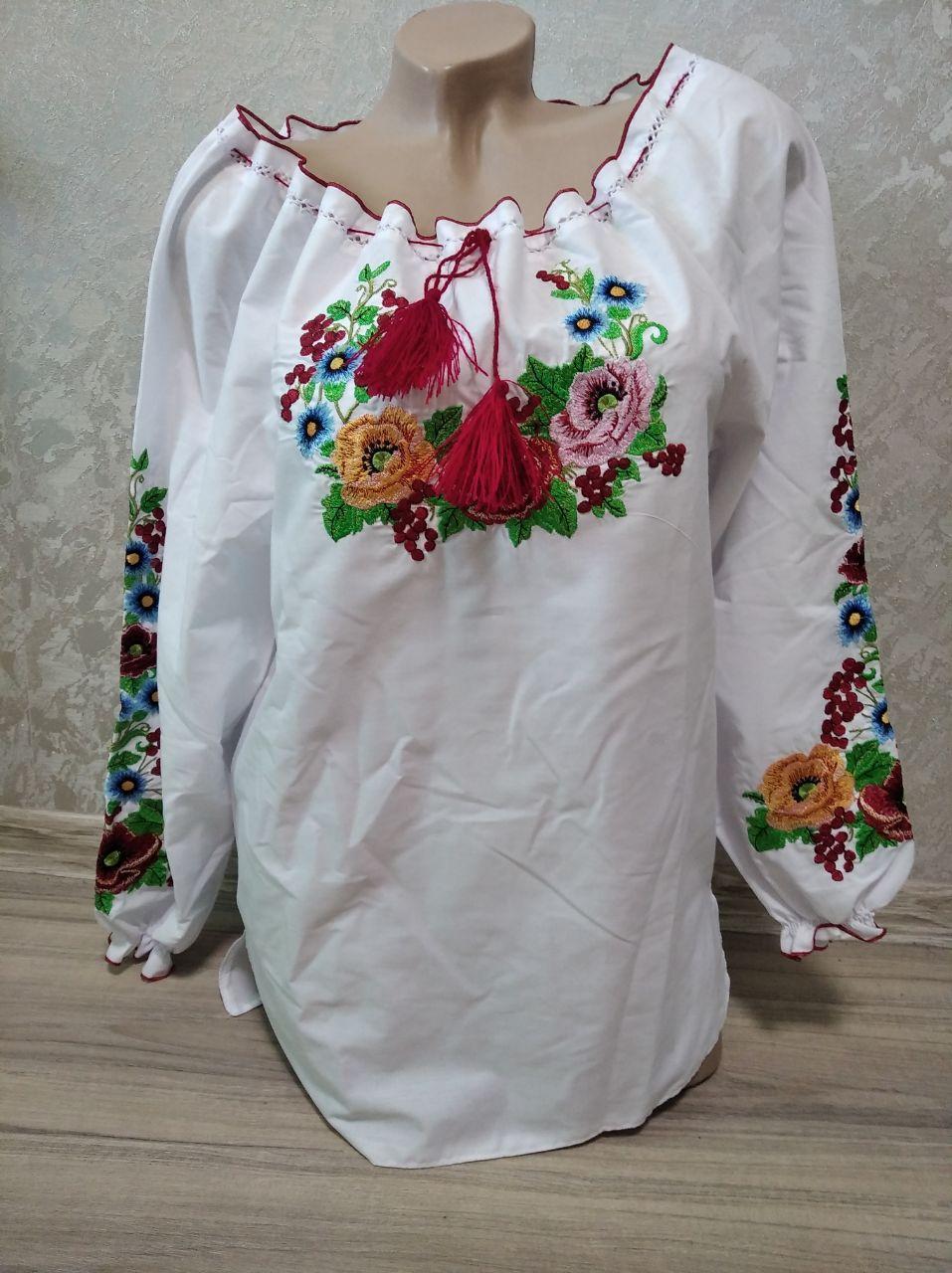 Женская вышиванка с вышивкой цветами - размер 50