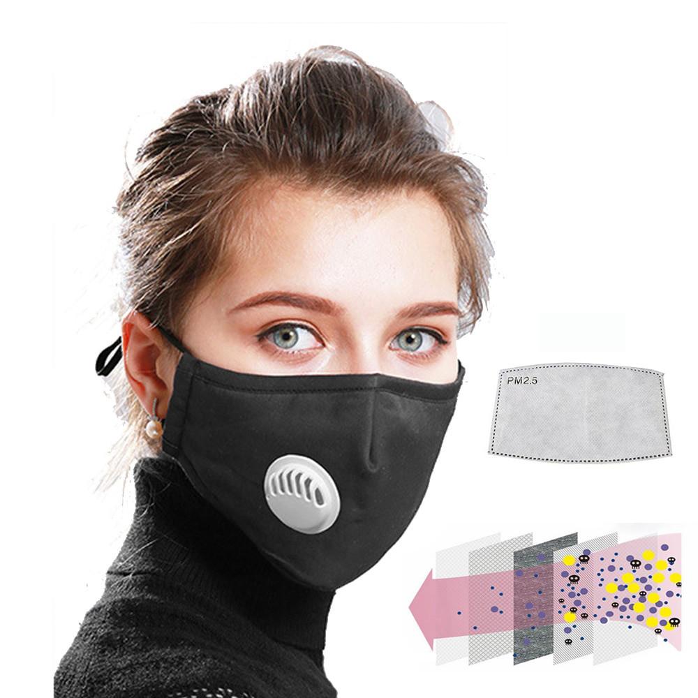 Защитная маска для лица многоразовая с клапаном и фильтром+2 фильтра в подарок