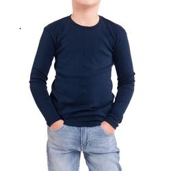 Синяя темная футболка детская для мальчиков и девочек длинный рукав без рисунка трикотажная хлопок Украина