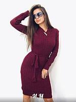 Женское стильное вязанное платье с V-образным декольте, фото 1