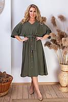 Женское летнее платье с поясом и рукавом летучая мышь лён жатка миди длина батальное