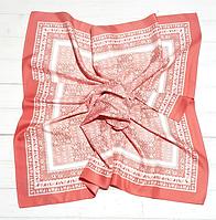 Шелковый платок Фиона, 90*90 см, персиковый