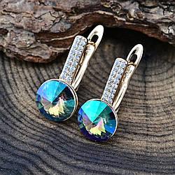 Серьги Xuping с кристаллами Swarovski 83185 размер 16х8 мм вес 2.8 г цвет райское сияние позолота 18К