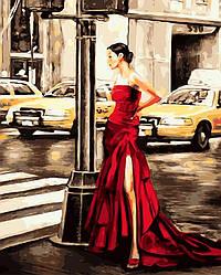 Картина по номерам 40х50см. Девушка в красном и желтое такси Brushme