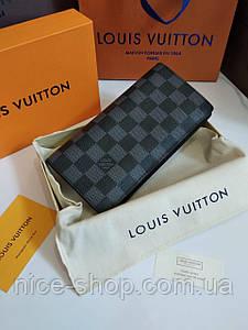 Кошелек-книжка Louis Vuitton кожаный, серая шахматка