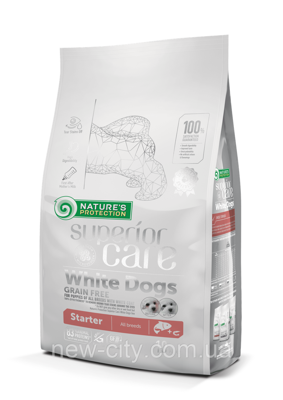 Nature's Protection Superior Care White Dogs Grain Free Starter All Breeds 1,5кг