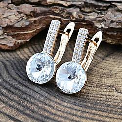 Серьги Xuping с кристаллами Swarovski 83185 размер 16х8 мм вес 2.8 г цвет белый позолота 18К