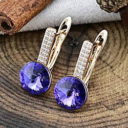 Серьги Xuping с кристаллами Swarovski 83185 размер 16х8 мм вес 2.8 г цвет фиолетовый позолота 18К