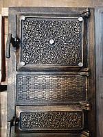 Спаренная чугунная дверка с защитным экраном ,для печки