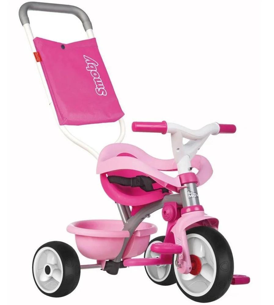 Детский трехколесный велосипед металлический Smoby Be Move 740404 с корзиной и сумкой (дитячий трьохколісний)