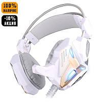 Игровые наушники Kotion Each G3100 white с микрофоном и подсветкой геймерская гарнитура, фото 1