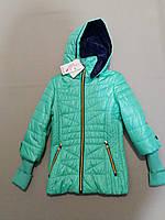 Салатовая подростковая курточка ветровка для девочки  8, 9, 10, 11 лет, фото 1