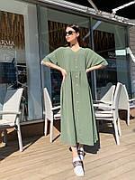 Женское красивое платье с пуговицами и рукавами летучая мышь лён жатка миди длина
