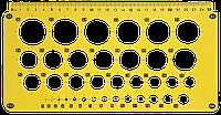 Линейка Трафарет Окружности от 1 до 30 мм, 25 см AS-0246, К-9060м